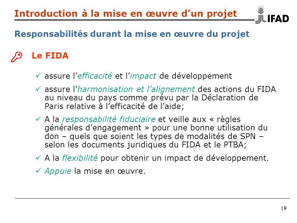 9919 Introduction à la mise en œuvre dun projet Responsabilités durant la mise en œuvre du projet Le FIDA assure lefficacité et limpact de développeme