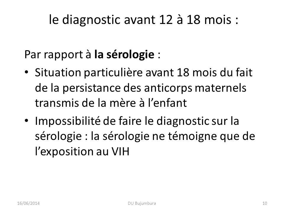 DU Bujumbura10 le diagnostic avant 12 à 18 mois : Par rapport à la sérologie : Situation particulière avant 18 mois du fait de la persistance des anti