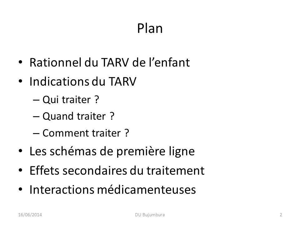 Objectifs pédagogiques Maîtriser le rationnel des indications du TARV Savoir quels enfants traiter, comment les traiter et à partir de quand il convient de les traiter Connaître le schéma de première ligne pour lensemble des enfants Connaître le schéma de première ligne dans des circonstances particulières Connaître les principaux effets secondaires des molécules utilisées Connaître les interactions les plus fréquentes 16/06/2014DU Bujumbura3