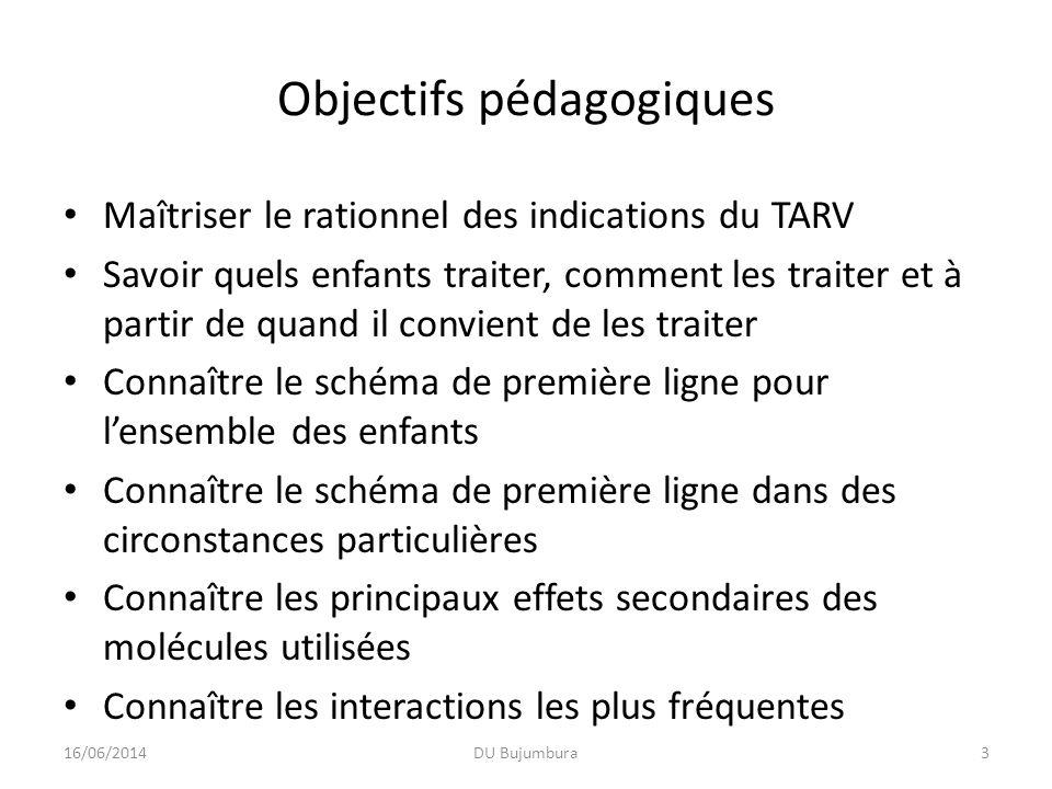 Objectifs pédagogiques Maîtriser le rationnel des indications du TARV Savoir quels enfants traiter, comment les traiter et à partir de quand il convie