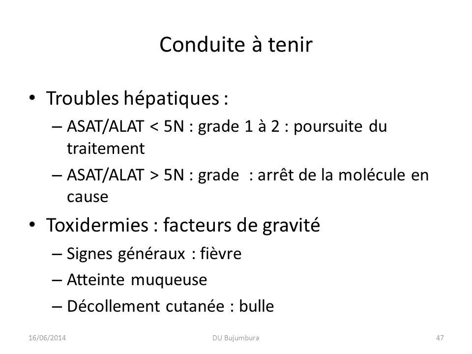Conduite à tenir Troubles hépatiques : – ASAT/ALAT < 5N : grade 1 à 2 : poursuite du traitement – ASAT/ALAT > 5N : grade : arrêt de la molécule en cau