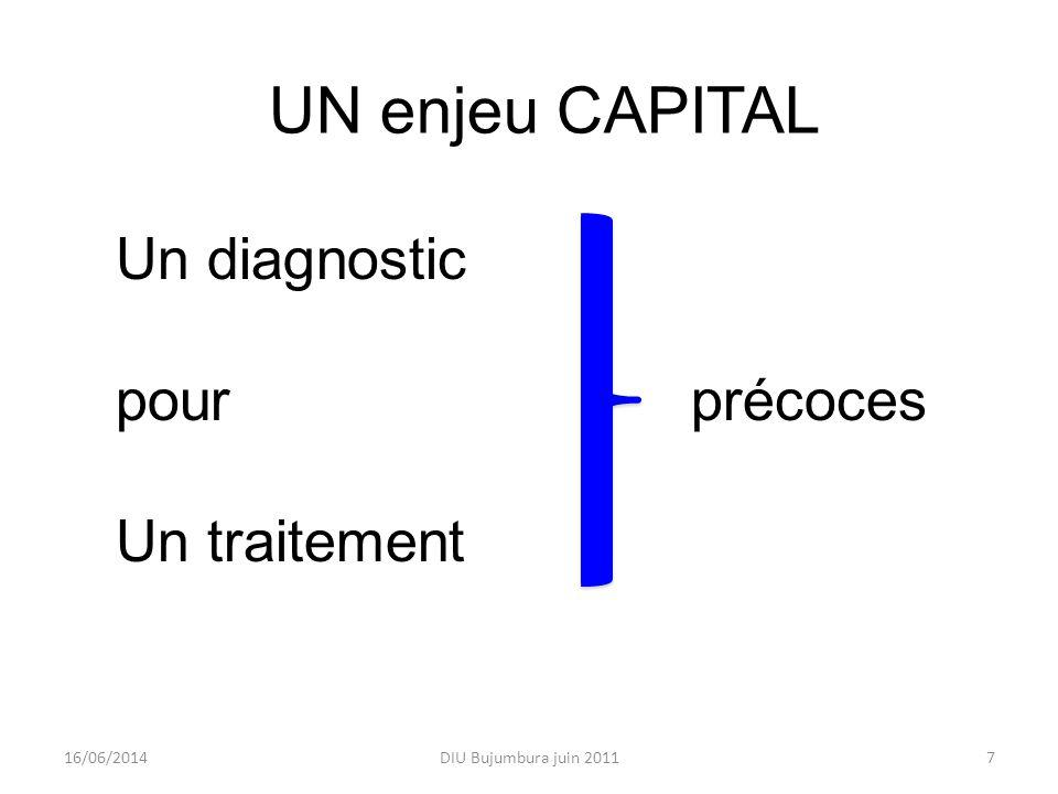 DIU Bujumbura juin 2011716/06/2014 UN enjeu CAPITAL Un diagnostic pour précoces Un traitement