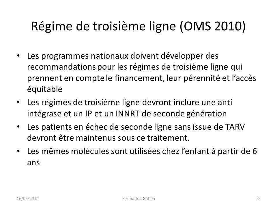 Régime de troisième ligne (OMS 2010) Les programmes nationaux doivent développer des recommandations pour les régimes de troisième ligne qui prennent