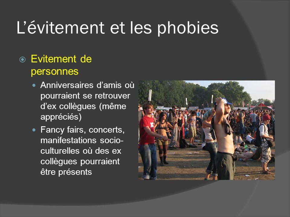Lévitement et les phobies Evitement de personnes Anniversaires damis où pourraient se retrouver dex collègues (même appréciés) Fancy fairs, concerts, manifestations socio- culturelles où des ex collègues pourraient être présents