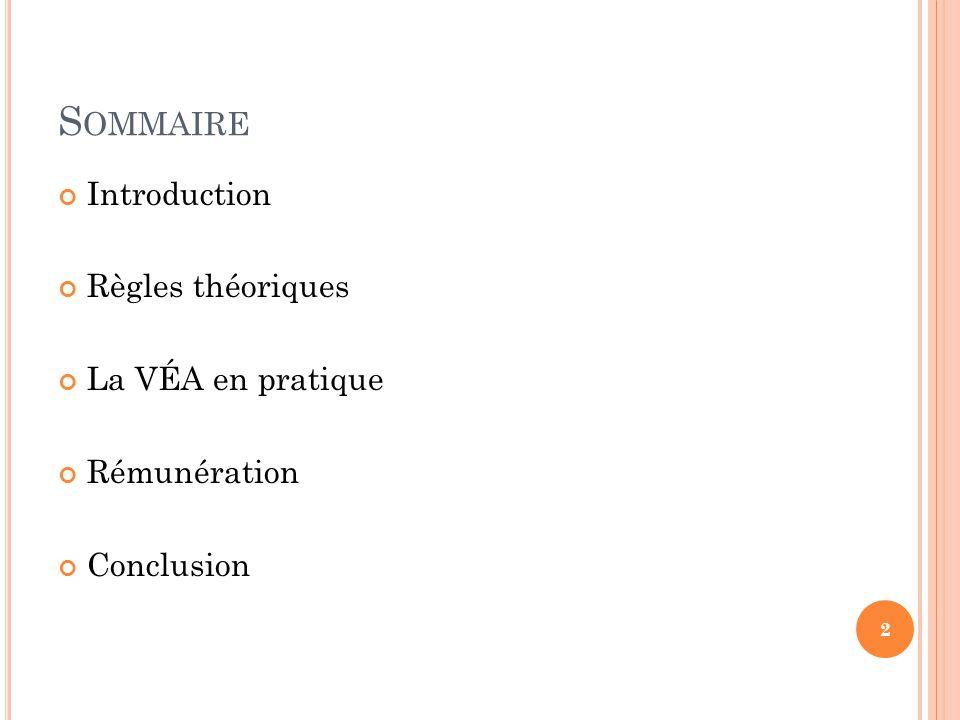 Introduction Règles théoriques La VÉA en pratique Conclusion Bonus (%) Performance ($EVA) Target 25% Rémunération REMUNERATION 13