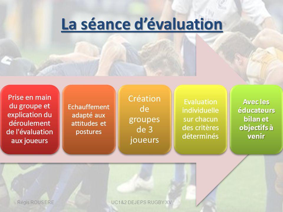 La séance dévaluation La séance dévaluation Prise en main du groupe et explication du déroulement de l'évaluation aux joueurs Echauffement adapté aux