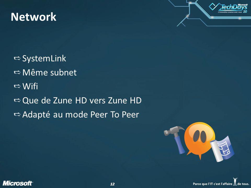12 Network SystemLink Même subnet Wifi Que de Zune HD vers Zune HD Adapté au mode Peer To Peer