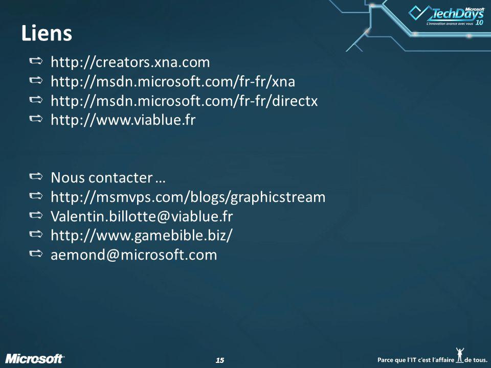 15 Liens http://creators.xna.com http://msdn.microsoft.com/fr-fr/xna http://msdn.microsoft.com/fr-fr/directx http://www.viablue.fr Nous contacter … ht