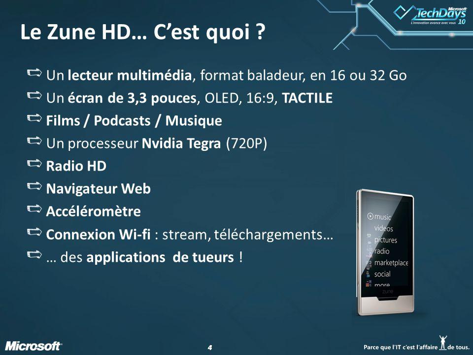 44 Le Zune HD… Cest quoi ? Un lecteur multimédia, format baladeur, en 16 ou 32 Go Un écran de 3,3 pouces, OLED, 16:9, TACTILE Films / Podcasts / Musiq