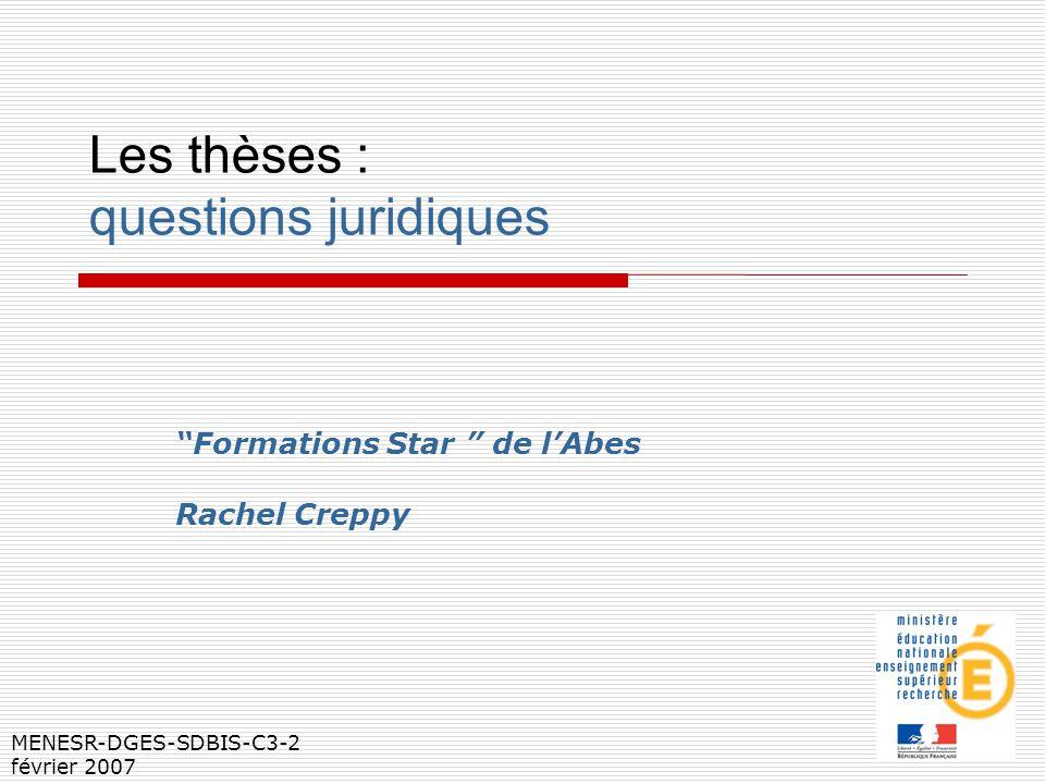 Les thèses : questions juridiques Formations Star de lAbes Rachel Creppy MENESR-DGES-SDBIS-C3-2 février 2007