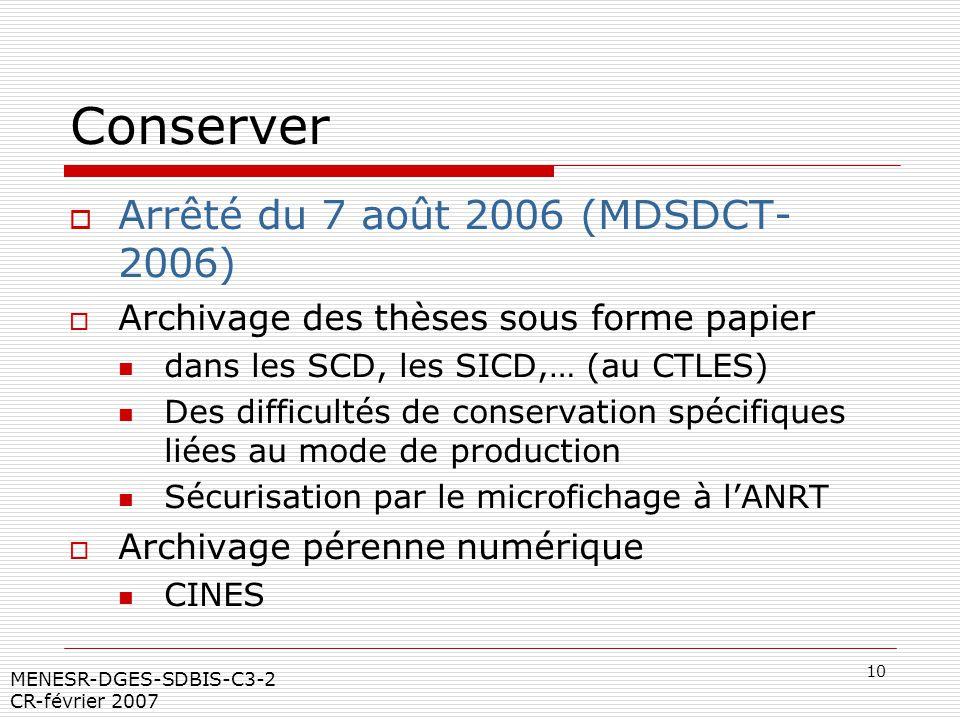 10 MENESR-DGES-SDBIS-C3-2 CR-février 2007 Conserver Arrêté du 7 août 2006 (MDSDCT- 2006) Archivage des thèses sous forme papier dans les SCD, les SICD