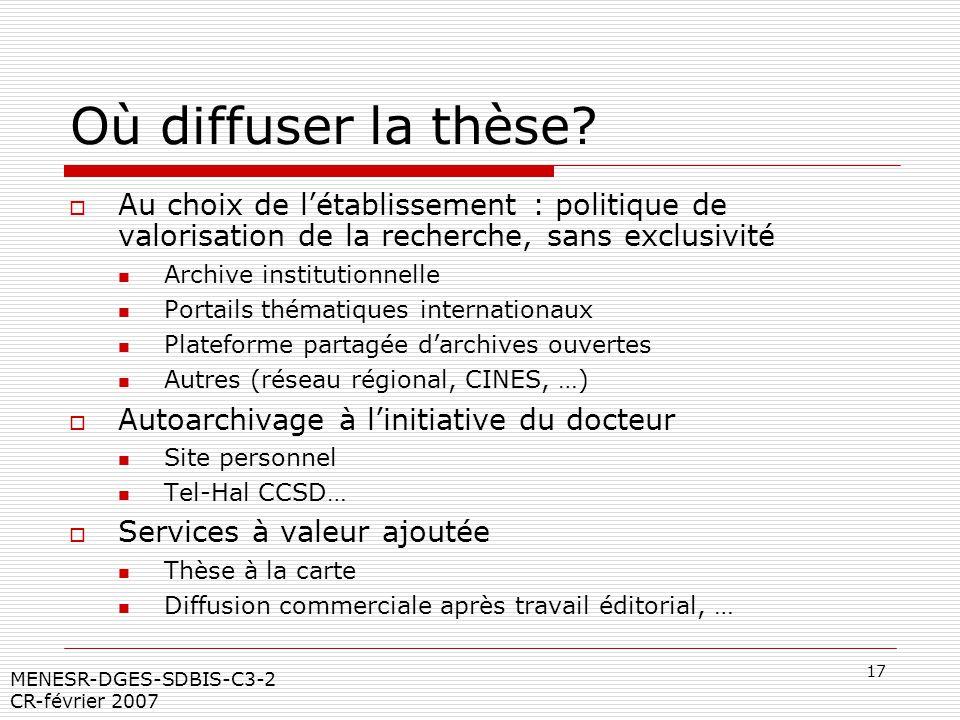 17 MENESR-DGES-SDBIS-C3-2 CR-février 2007 Où diffuser la thèse? Au choix de létablissement : politique de valorisation de la recherche, sans exclusivi