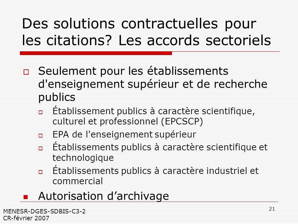 21 MENESR-DGES-SDBIS-C3-2 CR-février 2007 Des solutions contractuelles pour les citations? Les accords sectoriels Seulement pour les établissements d'