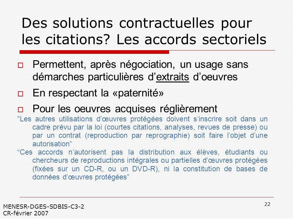 22 MENESR-DGES-SDBIS-C3-2 CR-février 2007 Des solutions contractuelles pour les citations? Les accords sectoriels Permettent, après négociation, un us