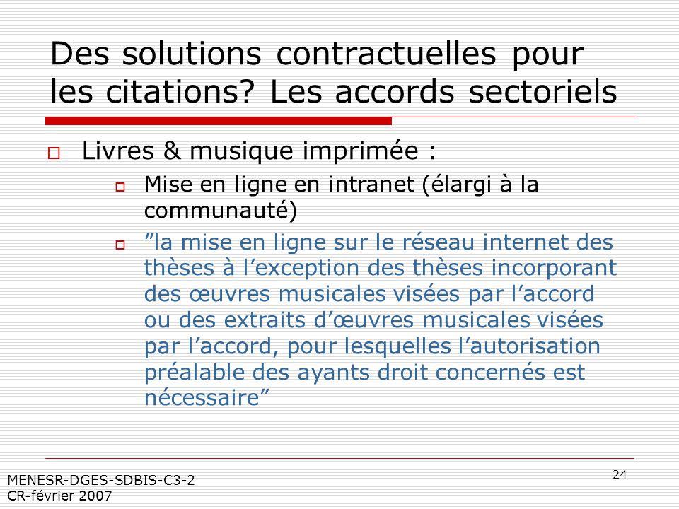 24 MENESR-DGES-SDBIS-C3-2 CR-février 2007 Des solutions contractuelles pour les citations? Les accords sectoriels Livres & musique imprimée : Mise en