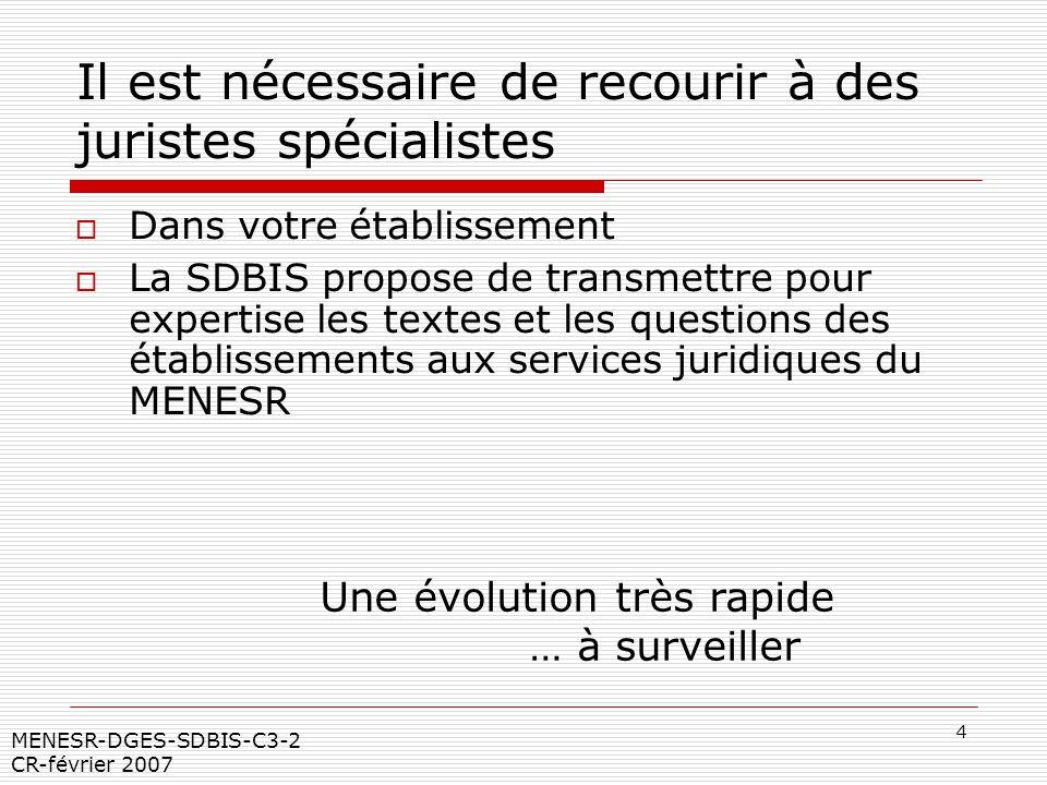 4 MENESR-DGES-SDBIS-C3-2 CR-février 2007 Il est nécessaire de recourir à des juristes spécialistes Dans votre établissement La SDBIS propose de transm