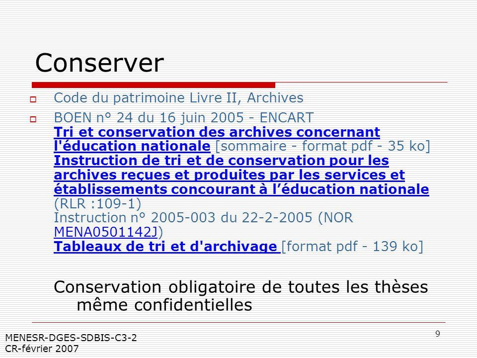 9 MENESR-DGES-SDBIS-C3-2 CR-février 2007 Conserver Code du patrimoine Livre II, Archives BOEN n° 24 du 16 juin 2005 - ENCART Tri et conservation des a
