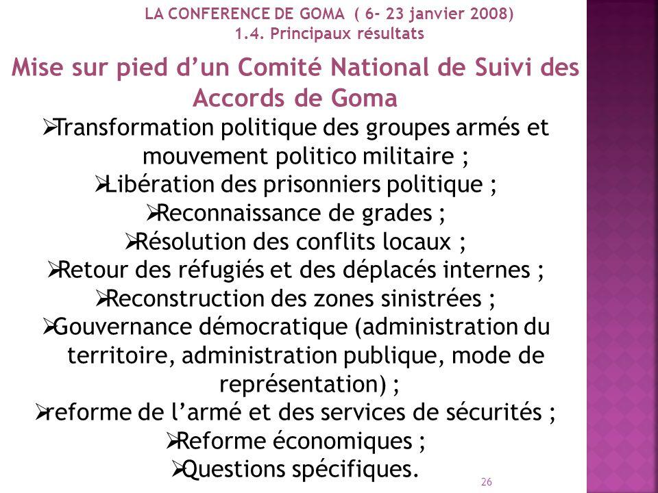 Signature des actes dengagement par les groupes armés du Nord-Kivu et du Sud- Kivu, le Gouvernement et les autorités de la Conférence, mais aussi par