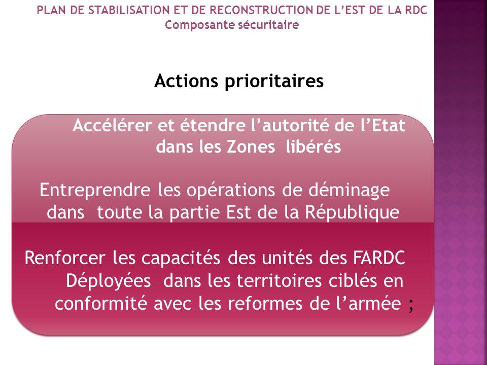 2. Domaines dintervention 2.1. Composante Sécuritaire : Objectifs Consolider les acquis des opérations contre les FDLR Mettre en place un mécanisme de