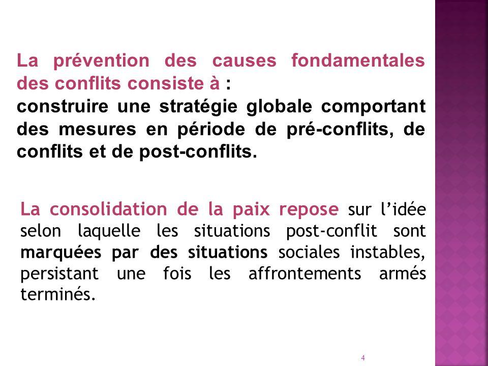 4 La prévention des causes fondamentales des conflits consiste à : construire une stratégie globale comportant des mesures en période de pré-conflits, de conflits et de post-conflits.
