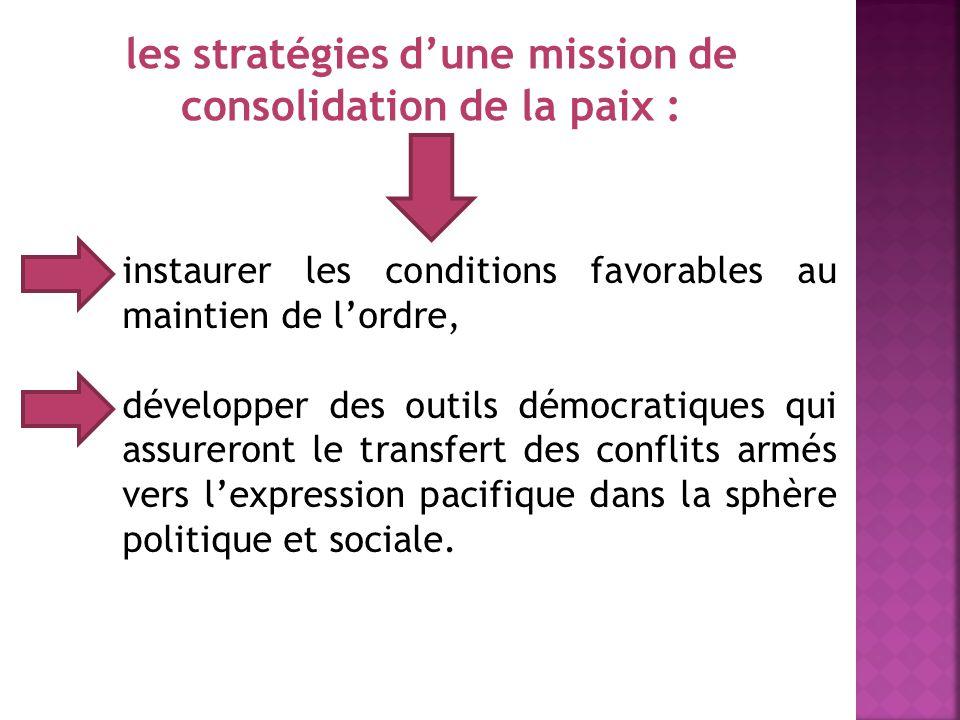 4 La prévention des causes fondamentales des conflits consiste à : construire une stratégie globale comportant des mesures en période de pré-conflits,