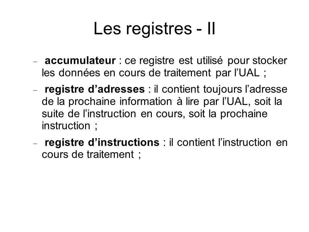 Les registres - II accumulateur : ce registre est utilisé pour stocker les données en cours de traitement par lUAL ; registre dadresses : il contient toujours ladresse de la prochaine information à lire par lUAL, soit la suite de linstruction en cours, soit la prochaine instruction ; registre dinstructions : il contient linstruction en cours de traitement ;
