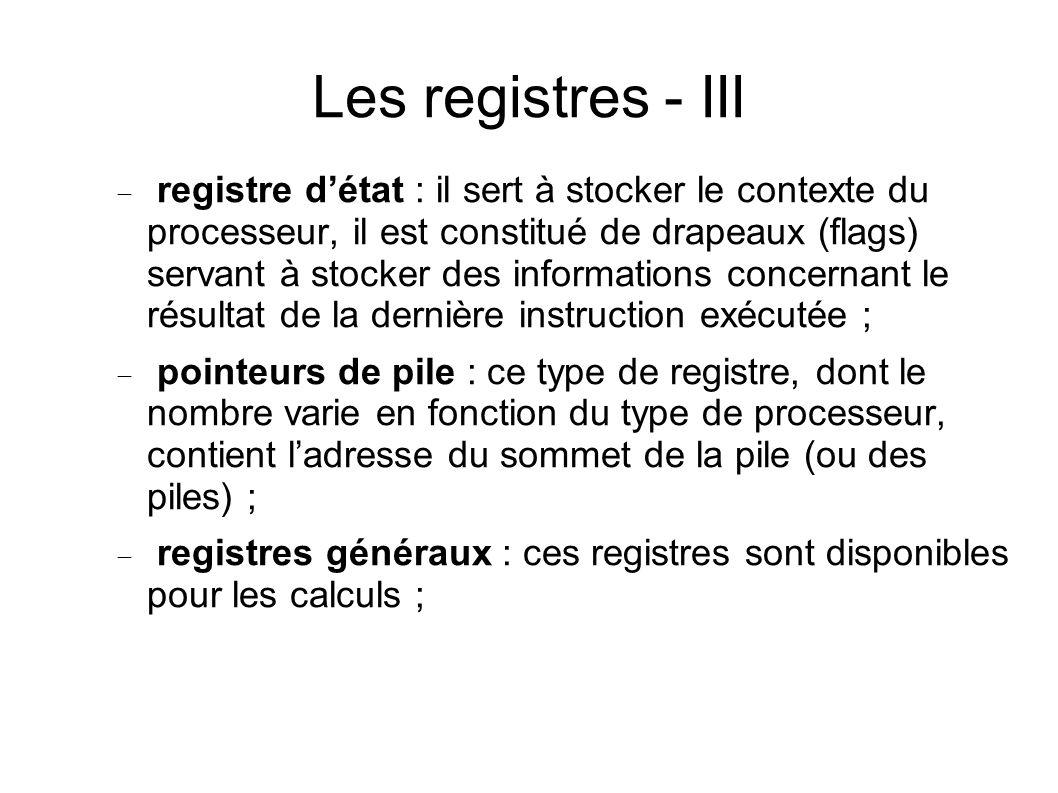 Les registres - III registre détat : il sert à stocker le contexte du processeur, il est constitué de drapeaux (flags) servant à stocker des informations concernant le résultat de la dernière instruction exécutée ; pointeurs de pile : ce type de registre, dont le nombre varie en fonction du type de processeur, contient ladresse du sommet de la pile (ou des piles) ; registres généraux : ces registres sont disponibles pour les calculs ;