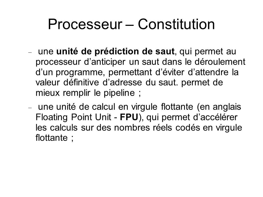 Processeur – Constitution une unité de prédiction de saut, qui permet au processeur danticiper un saut dans le déroulement dun programme, permettant déviter dattendre la valeur définitive dadresse du saut.