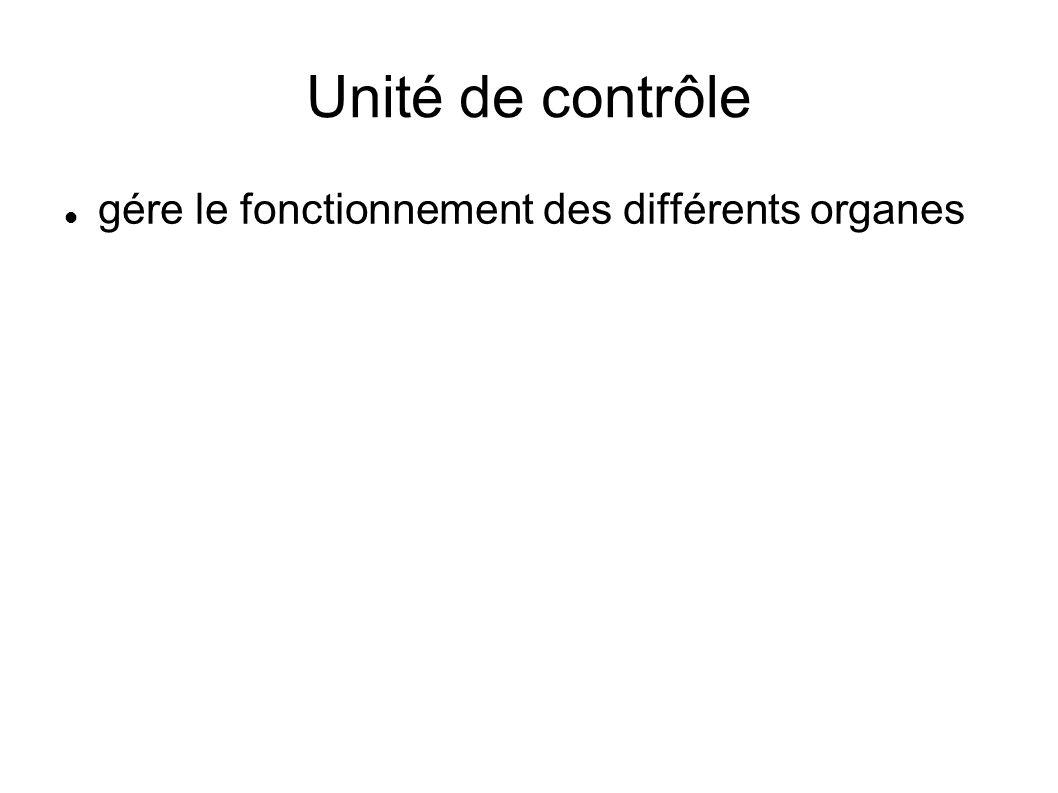 Unité de contrôle gére le fonctionnement des différents organes