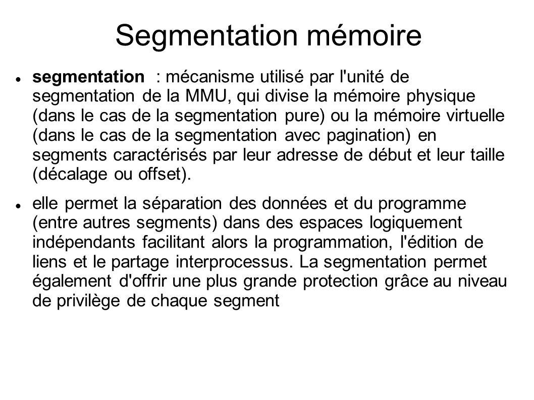 Segmentation mémoire segmentation : mécanisme utilisé par l unité de segmentation de la MMU, qui divise la mémoire physique (dans le cas de la segmentation pure) ou la mémoire virtuelle (dans le cas de la segmentation avec pagination) en segments caractérisés par leur adresse de début et leur taille (décalage ou offset).