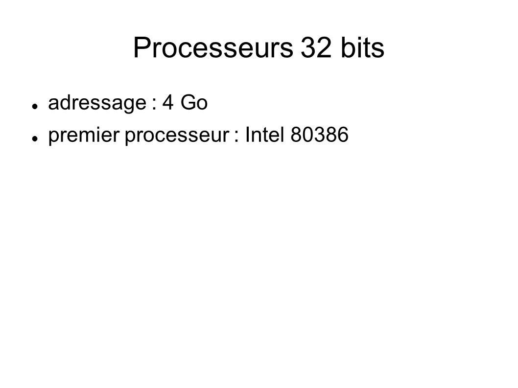 Processeurs 32 bits adressage : 4 Go premier processeur : Intel 80386