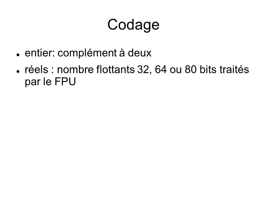 Codage entier: complément à deux réels : nombre flottants 32, 64 ou 80 bits traités par le FPU
