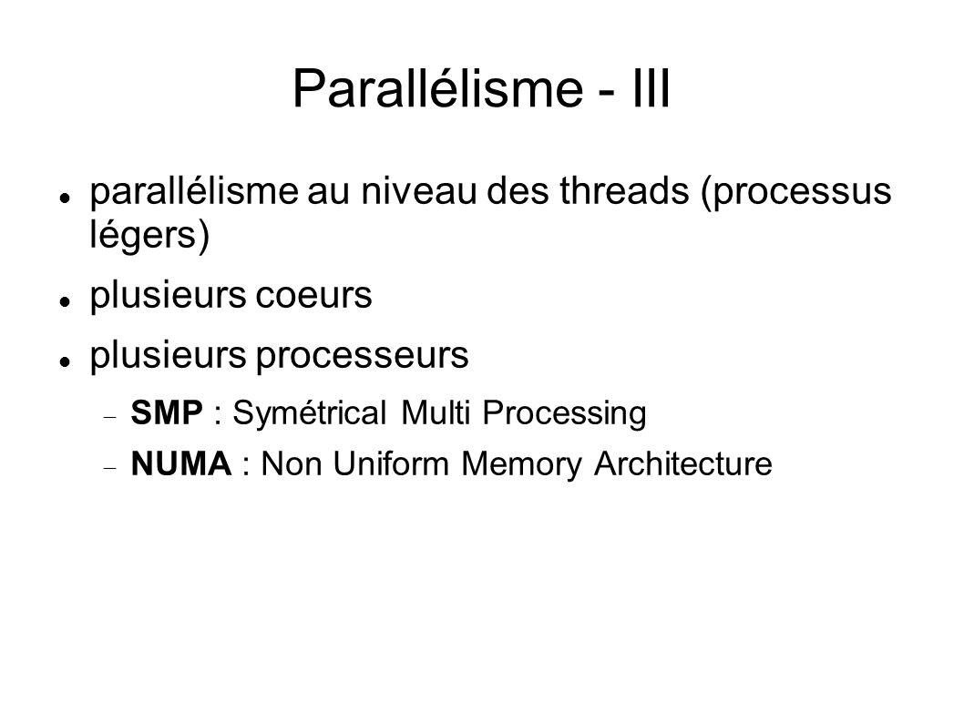 Parallélisme - III parallélisme au niveau des threads (processus légers) plusieurs coeurs plusieurs processeurs SMP : Symétrical Multi Processing NUMA : Non Uniform Memory Architecture