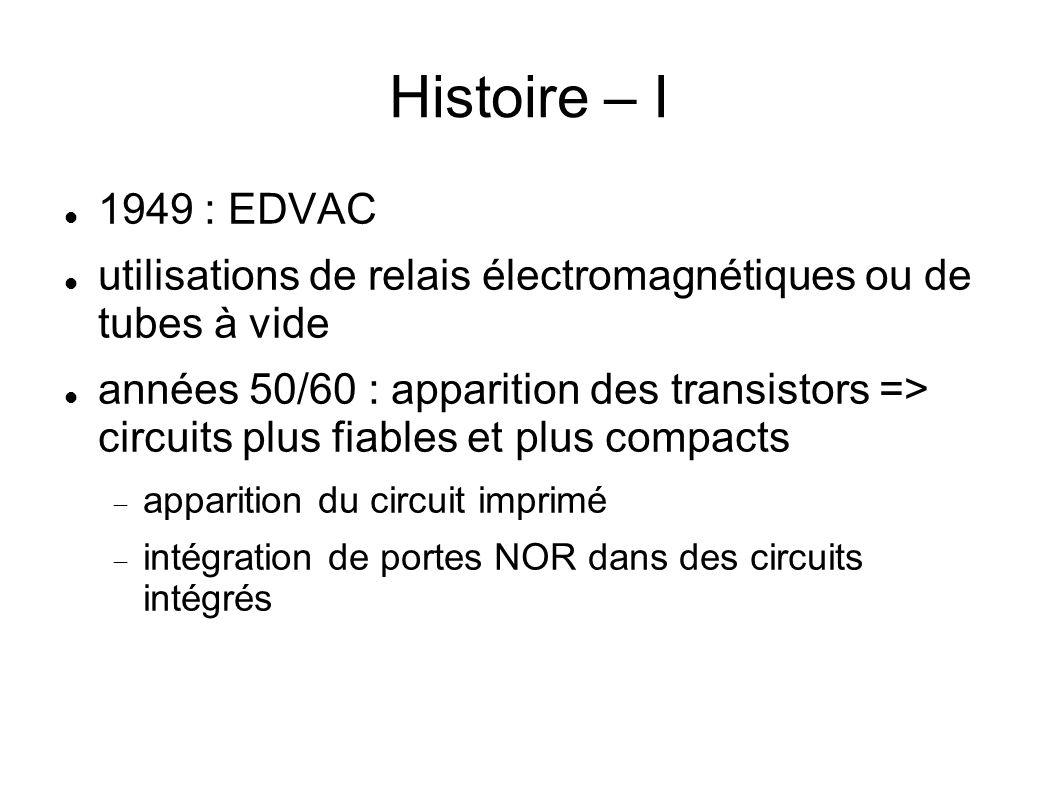Histoire – I 1949 : EDVAC utilisations de relais électromagnétiques ou de tubes à vide années 50/60 : apparition des transistors => circuits plus fiables et plus compacts apparition du circuit imprimé intégration de portes NOR dans des circuits intégrés