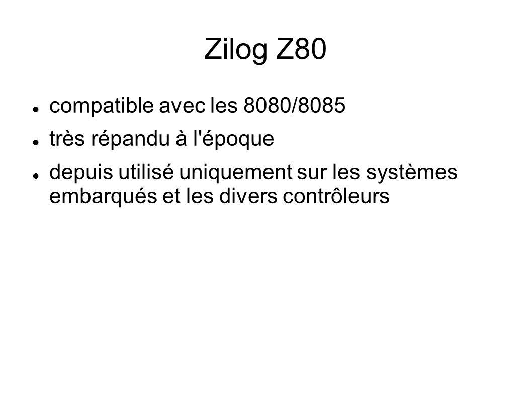 Zilog Z80 compatible avec les 8080/8085 très répandu à l époque depuis utilisé uniquement sur les systèmes embarqués et les divers contrôleurs