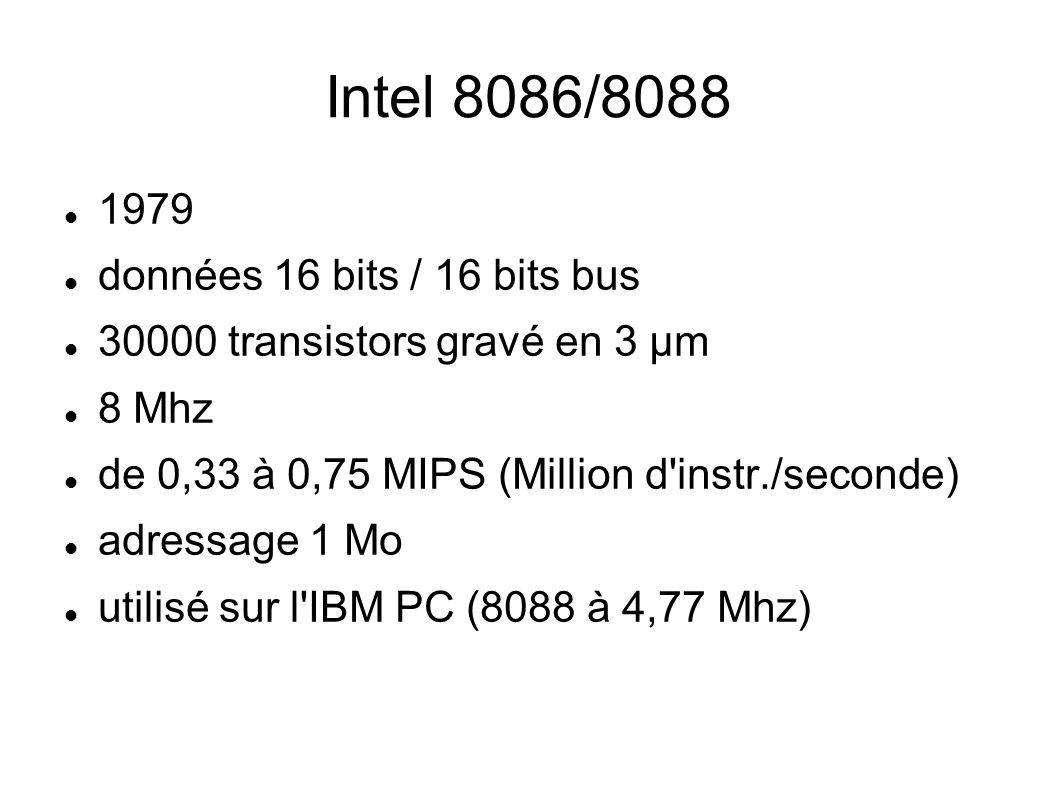 Intel 8086/8088 1979 données 16 bits / 16 bits bus 30000 transistors gravé en 3 µm 8 Mhz de 0,33 à 0,75 MIPS (Million d instr./seconde) adressage 1 Mo utilisé sur l IBM PC (8088 à 4,77 Mhz)