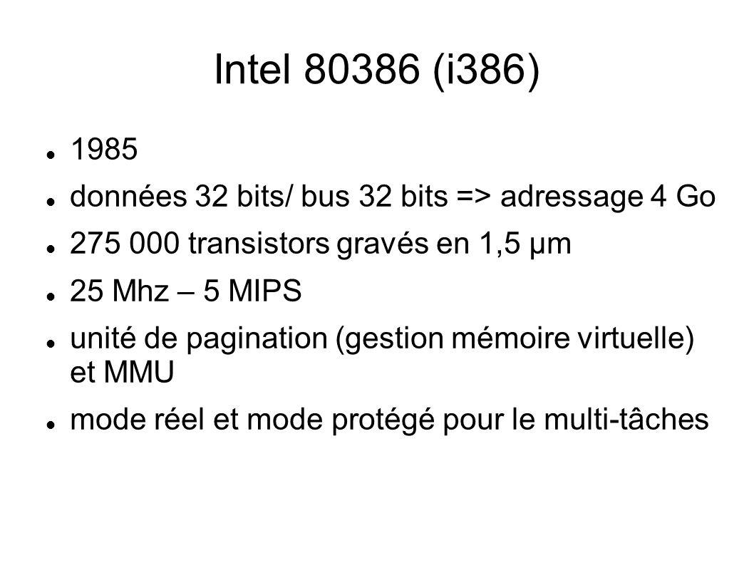 Intel 80386 (i386) 1985 données 32 bits/ bus 32 bits => adressage 4 Go 275 000 transistors gravés en 1,5 µm 25 Mhz – 5 MIPS unité de pagination (gestion mémoire virtuelle) et MMU mode réel et mode protégé pour le multi-tâches