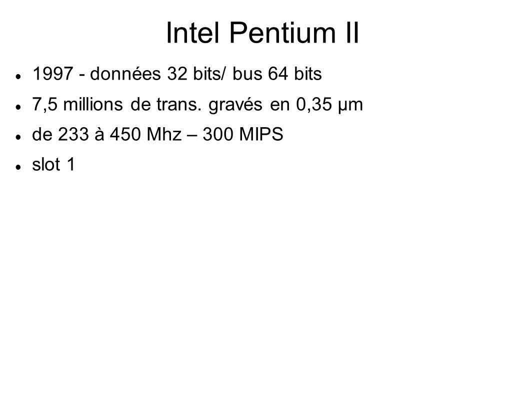 Intel Pentium II 1997 - données 32 bits/ bus 64 bits 7,5 millions de trans.
