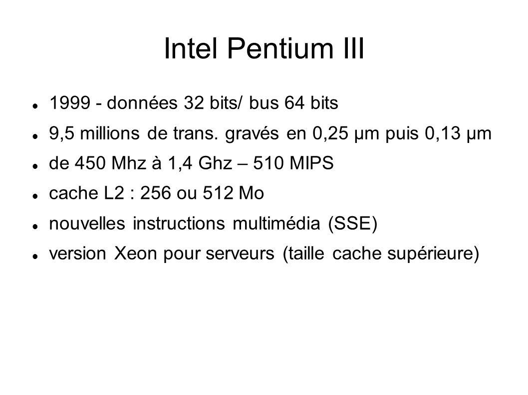 Intel Pentium III 1999 - données 32 bits/ bus 64 bits 9,5 millions de trans.