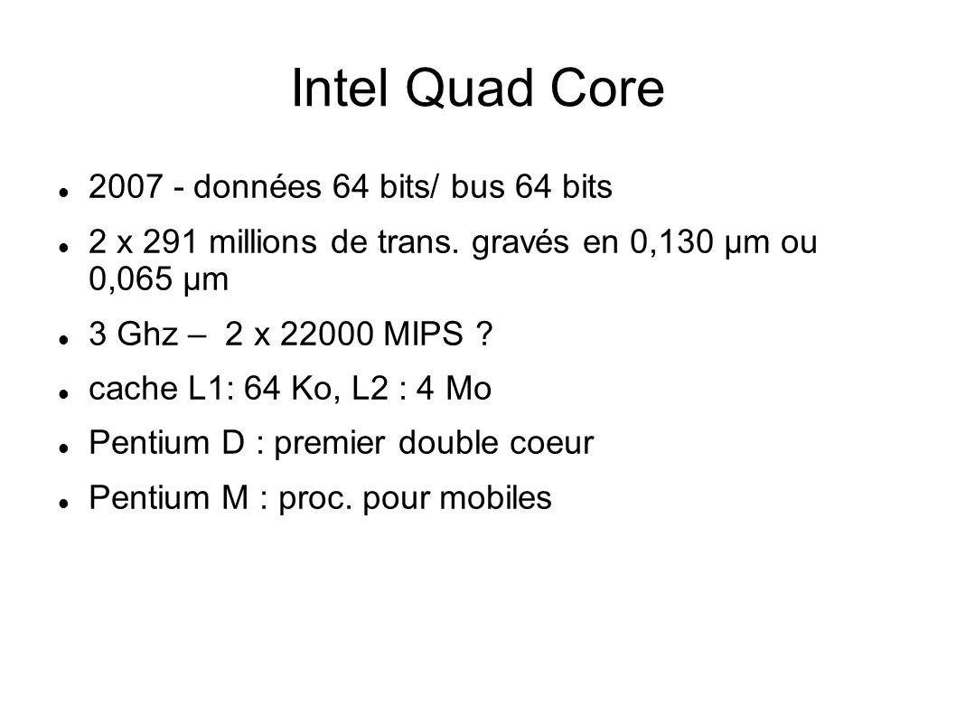 Intel Quad Core 2007 - données 64 bits/ bus 64 bits 2 x 291 millions de trans.