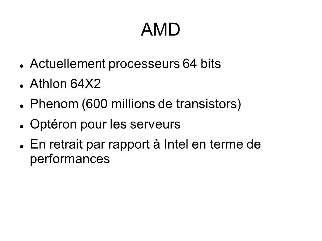 AMD Actuellement processeurs 64 bits Athlon 64X2 Phenom (600 millions de transistors) Optéron pour les serveurs En retrait par rapport à Intel en terme de performances