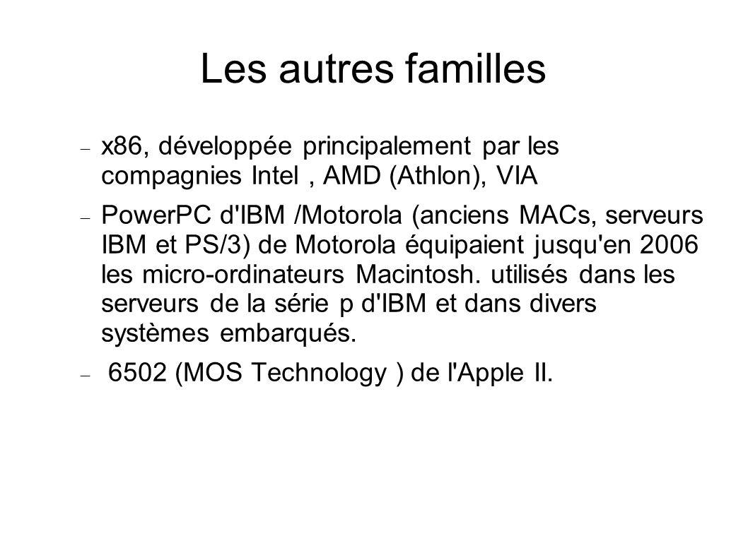 Les autres familles x86, développée principalement par les compagnies Intel, AMD (Athlon), VIA PowerPC d IBM /Motorola (anciens MACs, serveurs IBM et PS/3) de Motorola équipaient jusqu en 2006 les micro-ordinateurs Macintosh.