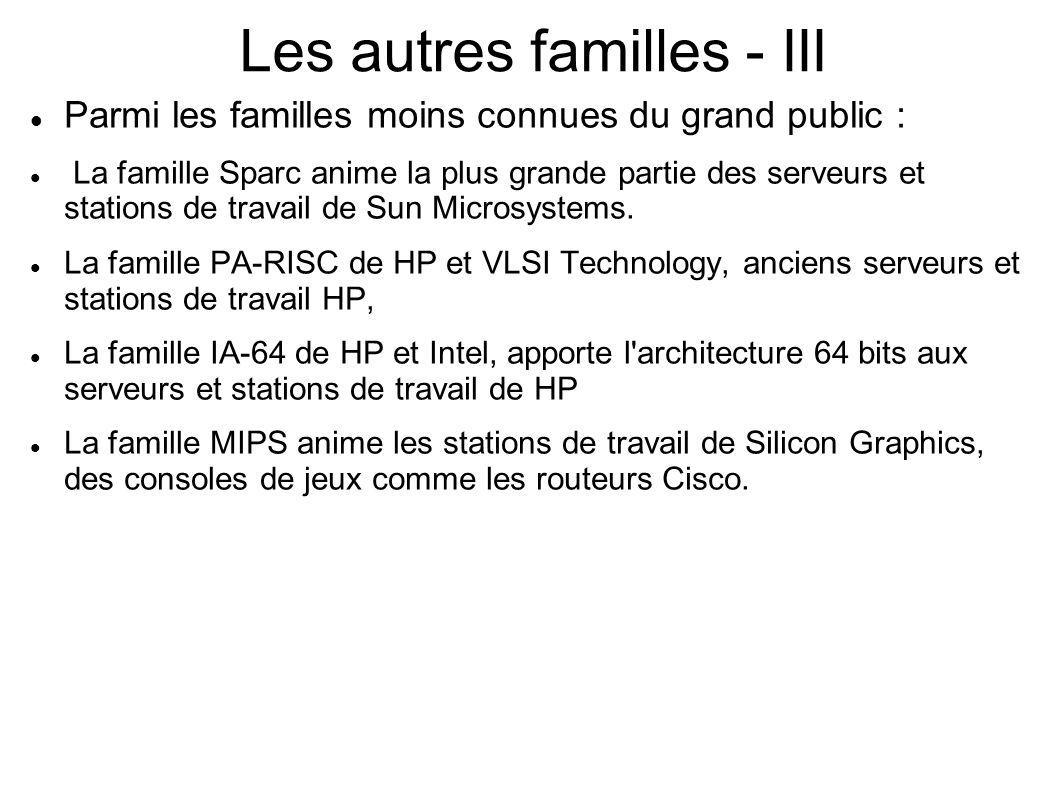 Les autres familles - III Parmi les familles moins connues du grand public : La famille Sparc anime la plus grande partie des serveurs et stations de travail de Sun Microsystems.