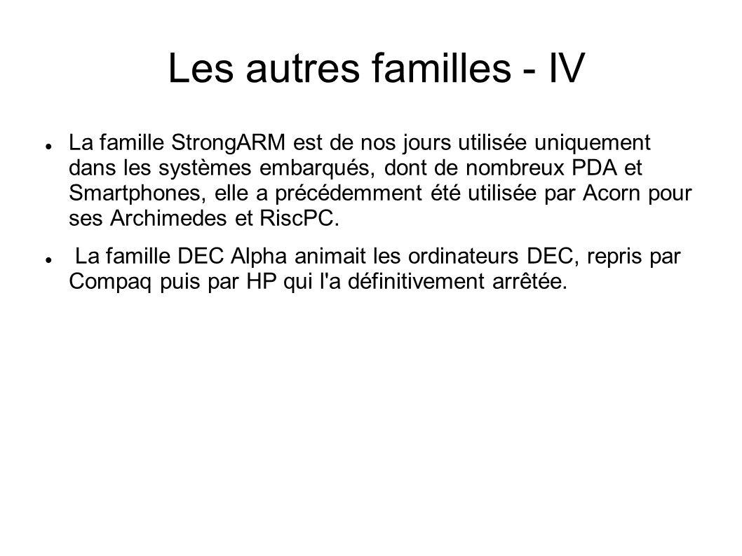 Les autres familles - IV La famille StrongARM est de nos jours utilisée uniquement dans les systèmes embarqués, dont de nombreux PDA et Smartphones, elle a précédemment été utilisée par Acorn pour ses Archimedes et RiscPC.