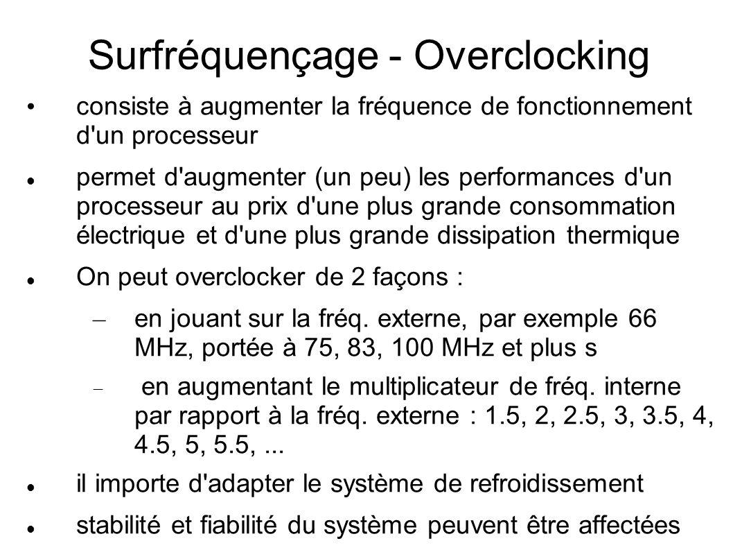 Surfréquençage - Overclocking consiste à augmenter la fréquence de fonctionnement d un processeur permet d augmenter (un peu) les performances d un processeur au prix d une plus grande consommation électrique et d une plus grande dissipation thermique On peut overclocker de 2 façons : – en jouant sur la fréq.