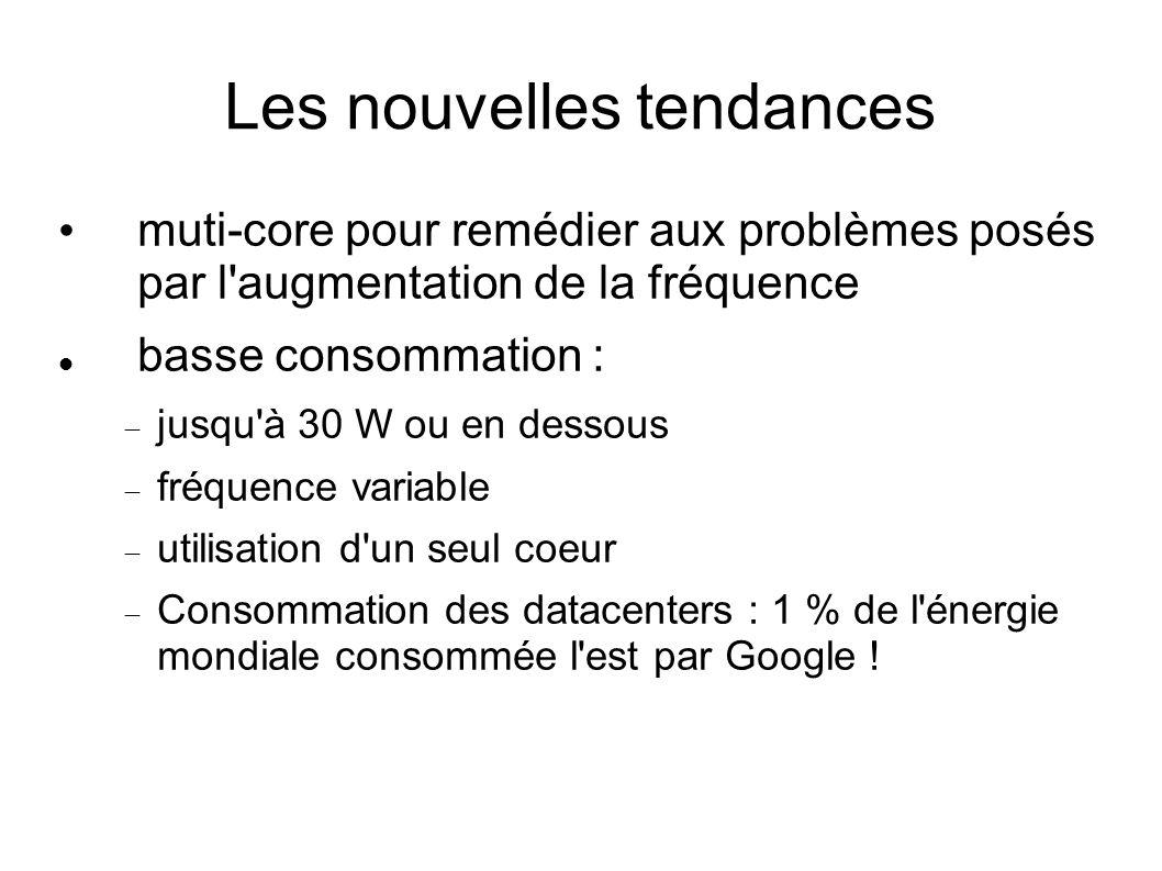 Les nouvelles tendances muti-core pour remédier aux problèmes posés par l augmentation de la fréquence basse consommation : jusqu à 30 W ou en dessous fréquence variable utilisation d un seul coeur Consommation des datacenters : 1 % de l énergie mondiale consommée l est par Google !
