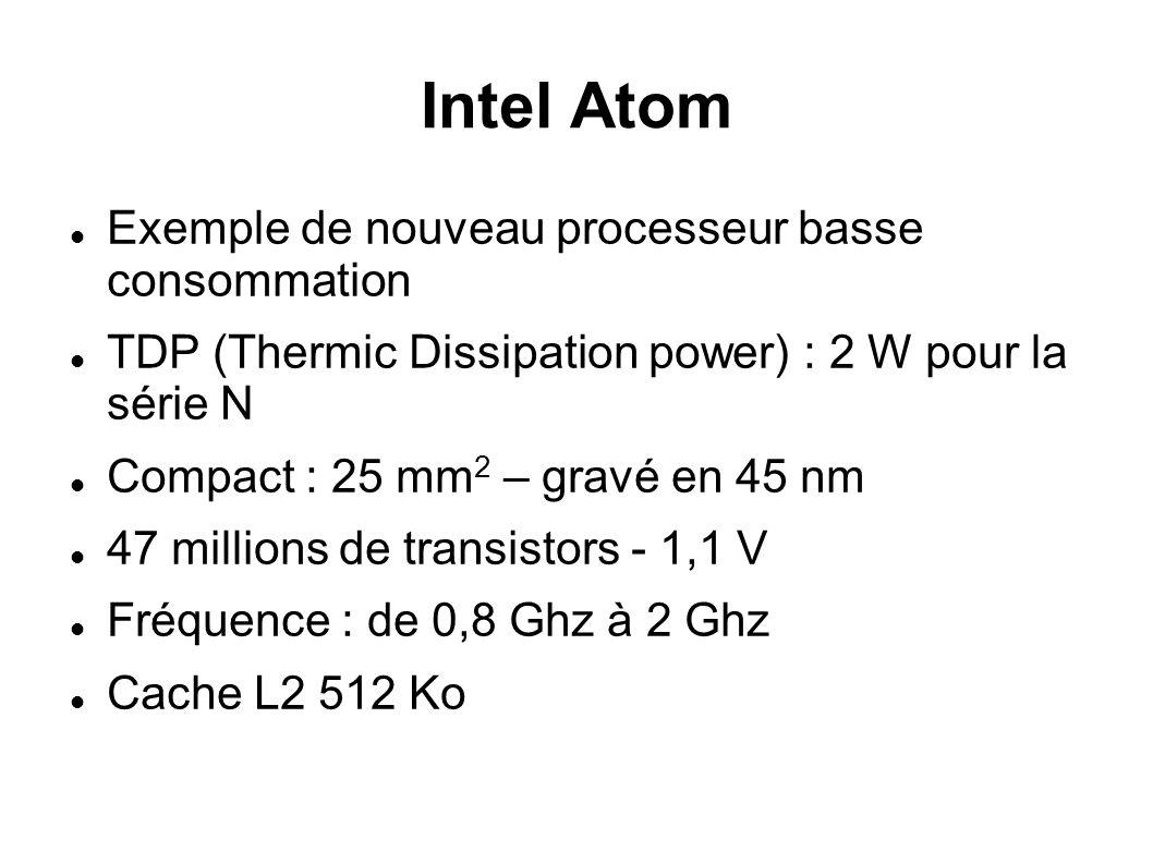 Intel Atom Exemple de nouveau processeur basse consommation TDP (Thermic Dissipation power) : 2 W pour la série N Compact : 25 mm 2 – gravé en 45 nm 47 millions de transistors - 1,1 V Fréquence : de 0,8 Ghz à 2 Ghz Cache L2 512 Ko