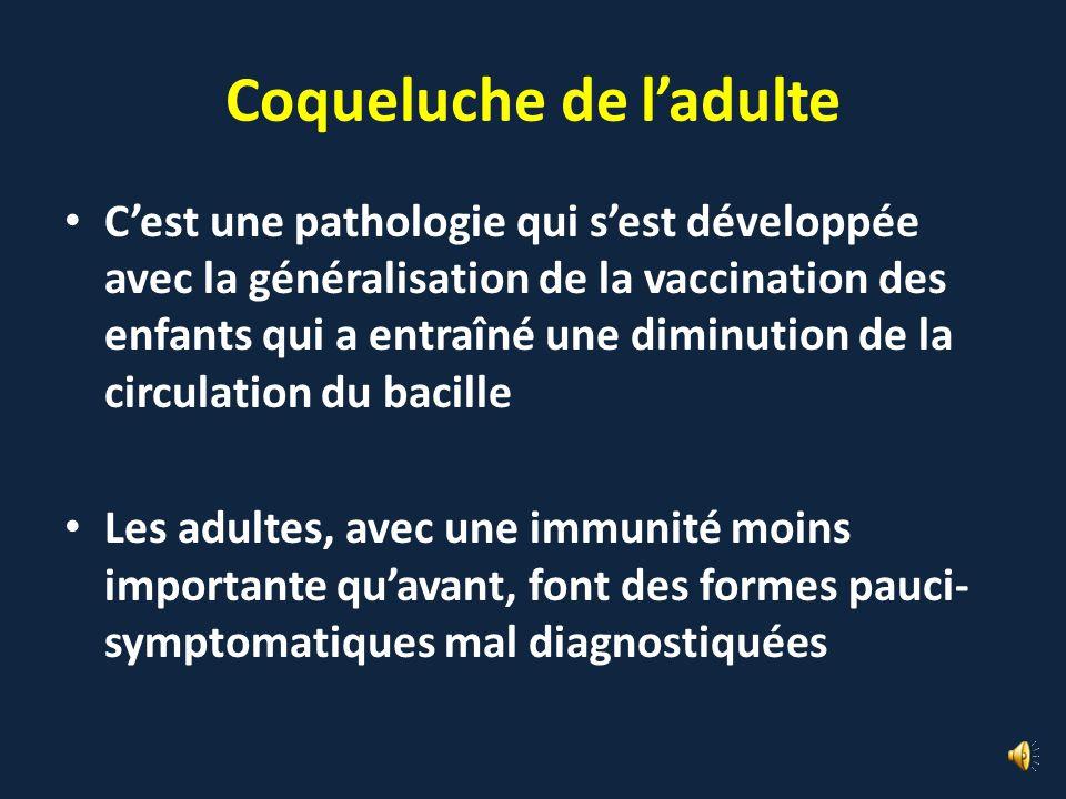 La recherche de coqueluche chez les adultes ne sert à rien pour prévoir la survenue dépidémies MAIS ON IGNORE LA REALITE DE LA COQUELUCHE DE LADULTE e
