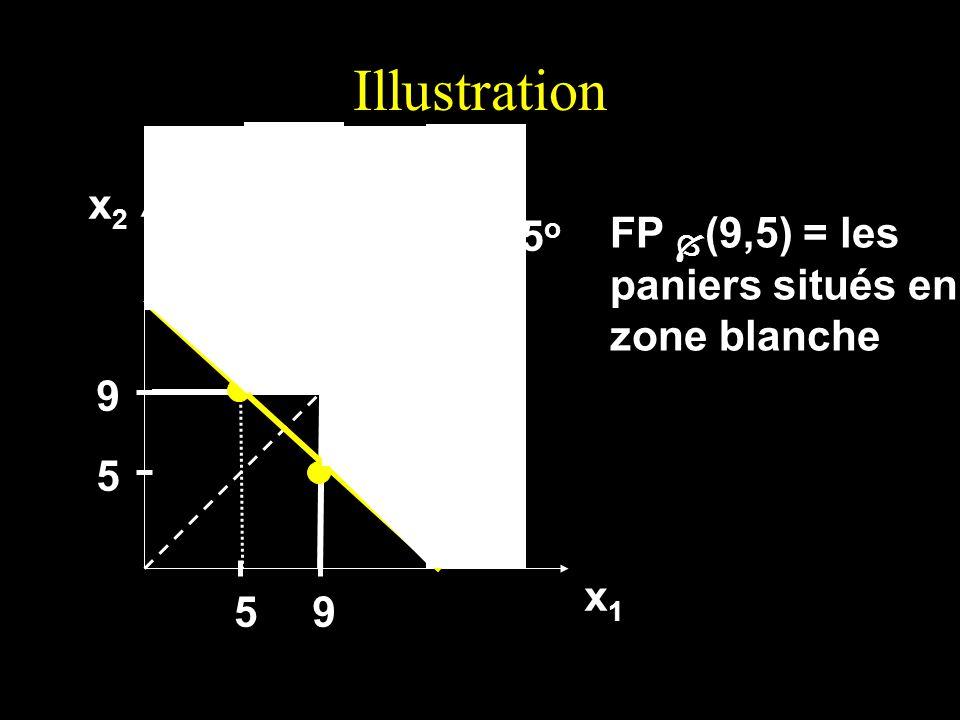 Illustration x2x2x2x2 x1x1x1x1 45 o 5 9 59 FP (9,5) = les paniers situés en zone blanche
