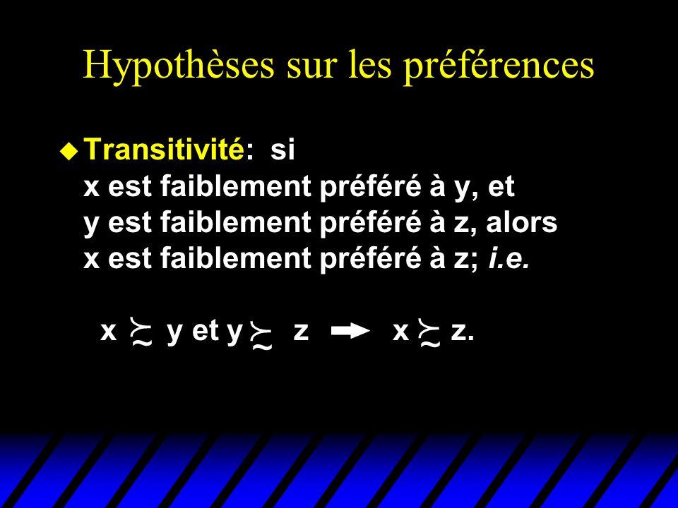 Hypothèses sur les préférences u Transitivité: si x est faiblement préféré à y, et y est faiblement préféré à z, alors x est faiblement préféré à z; i.e.